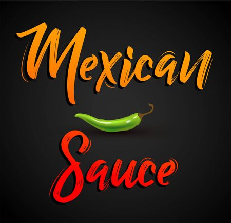 Mexican Sauce Jalapeno Chili Vector Design.