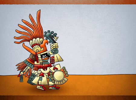 Huitzilopochtli Mayan Aztec Deity God of Sun Illustration. 免版税图像