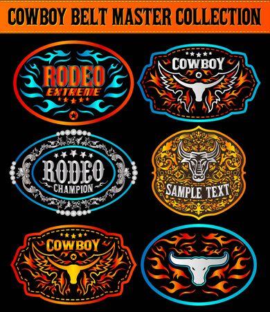 Western Style Cowboy Belt Buckle Label Master Collection Set. Ilustración de vector