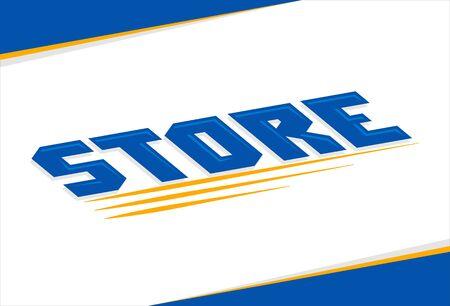 Store Shop Sign vector illustration in perspective. Ilustração Vetorial