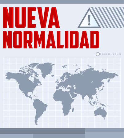 Nueva Normalidad, New Normal Spanish text, vector design.