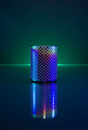 Colorful Glass with Sphere texture on Dark Background and Neon Light.