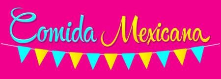 Comida Mexicana, Mexican Food spanish text vector illustration.