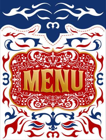 Menu Ornamental emblem Restaurant vector design. 일러스트