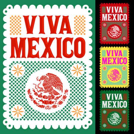 Viva Mexico Mexican holiday vector poster, street decoration illustration. 일러스트
