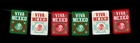 Viva Mexico Mexican holiday vector, street decoration, master collection.