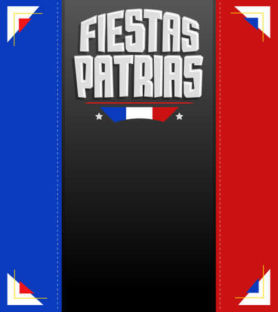 Fiestas Patrias, National Holidays spanish text, Chile theme patriotic celebration banner, Chilean flag color.