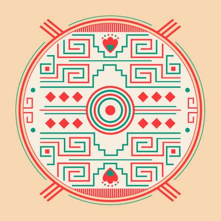 Mayan Aztec Style Emblem design, Maya iconography.