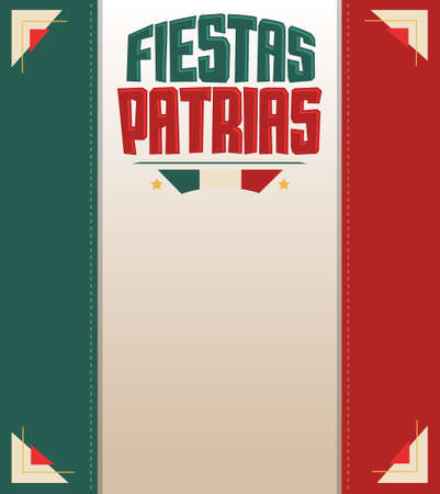 Fiestas Patrias, National Holidays spanish text, Mexico theme patriotic celebration banner, Mexican flag color.