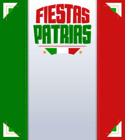 Fiestas Patrias, National Holidays spanish text, Mexico theme patriotic celebration banner, Mexican flag color.