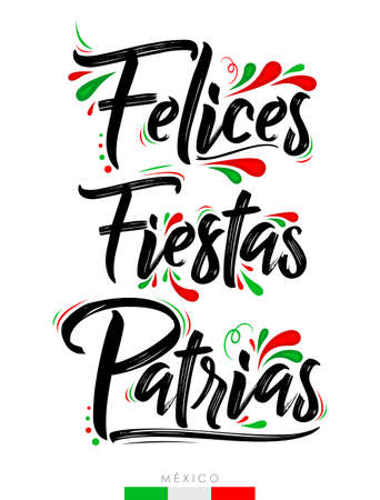 Felices Fiestas Patrias, Happy National Holidays spanish text, Mexican theme patriotic celebration.