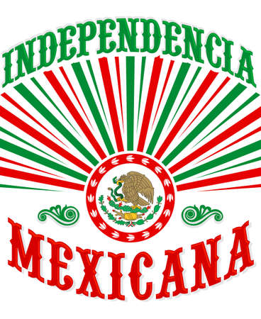 Independencia Mexicana, Mexican Independence poster design mexican flag patriotic colors. Çizim