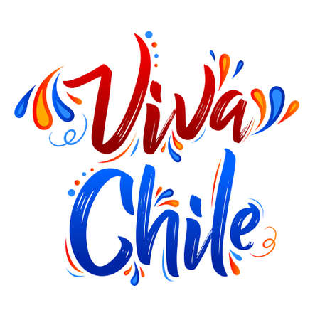 Viva Chile Translation: Long Live Chile, Traditional Chilean Celebration. 일러스트