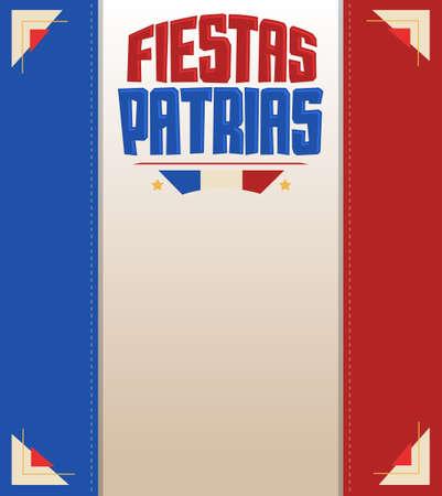 Fiestas Patrias, National Holidays spanish text, Chile theme patriotic celebration banner, Chilean flag color.