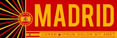 Madrid Spain Banner design, typographic vector illustration, Spanish Flag colors.