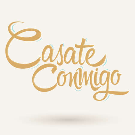 Casate Conmigo, Marry Me spanish text, proposal vector lettering design. 向量圖像