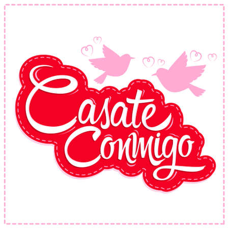 Casate Conmigo, Marry Me spanish translation, proposal vector design.