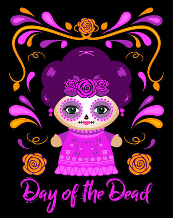 Day of the Dead Classic Mexican Catrina Doll and ornaments vector illustration.