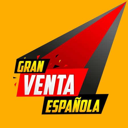 Gran venta Espanola, Spanish Big Sale Spanish text, vector post design. 矢量图像