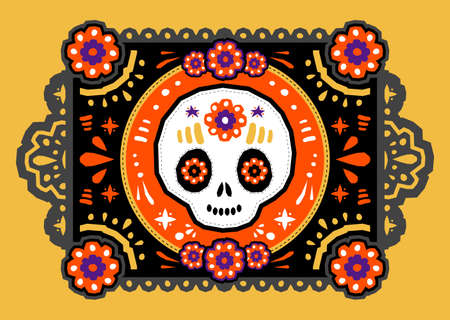 Day of the Dead Sugar Skull Crafted Paper vector traditional decoration. Stock Illustratie