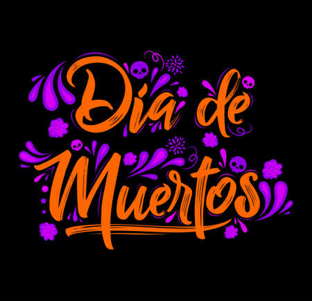Dia de Muertos, Day of Dead spanish text Celebration vector illustration.