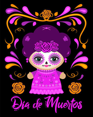Dia de Muertos, Day of the Dead Spanish text Classic Mexican Catrina Doll and ornaments.