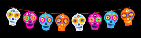 Sugar Skull Day of the Death Traditional vector crafted decorations.