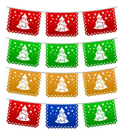Christmas Tree streets decoration, holiday vector Element illustration.