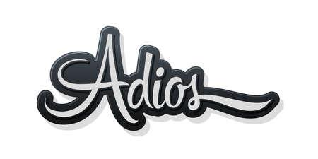 Adios, Good Bye spanish text, farewell vector lettering. Stock Illustratie