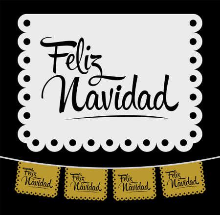 Feliz Navidad, Merry Christmas spanish text vector street decoration.