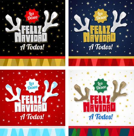 Les deseo Feliz Navidad a Todos, I Wish Merry Christmas to All spanish text, christmas vector collection. Vektoros illusztráció
