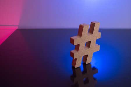 Hashtag Tagging Symbol letter on color light background.
