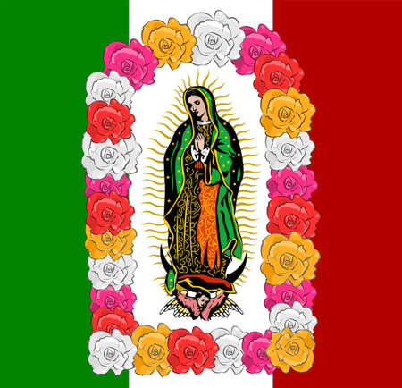 Virgin of Guadalupe, color Roses and mexican flagVector illustration.