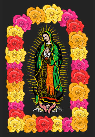 Virgin of Guadalupe, color Roses Isolated Vector illustration.
