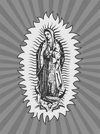 Virgin of Guadalupe, Mexican Virgen de Guadalupe vector composition. Illusztráció