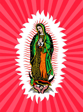 Virgin of Guadalupe, Mexican Virgen de Guadalupe vector composition.