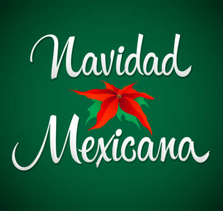 Navidad Mexicana, Mexican Christmas spanish text, Vector design. Stock Illustratie