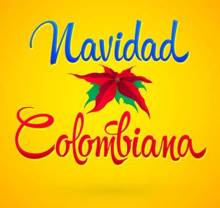 Navidad Colombiana, Colombian Christmas spanish text, Vector Holiday design. Stock Illustratie