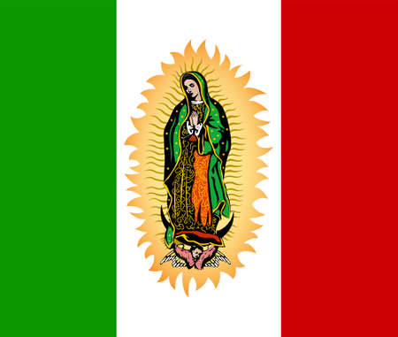 Virgin of Guadalupe and Mexican Flag Vector illustration. Stock Illustratie