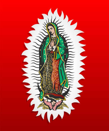 Virgin of Guadalupe, Mexican Deity colorful background.