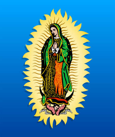 Virgin of Guadalupe, Mexican Deity colorful background. Stock Illustratie