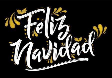 Feliz Navidad, Merry Christmas spanish text holiday design. Stock Illustratie