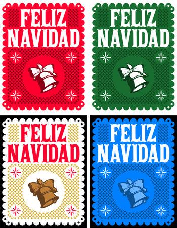 Feliz Navidad, Merry Christmas Spanish text, Vintage Retro card, Vector Collection Set