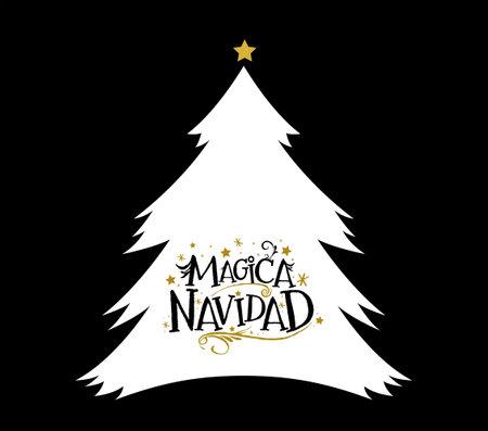 Magica Navidad, Magic Christmas Spanish text, vector christmas tree.