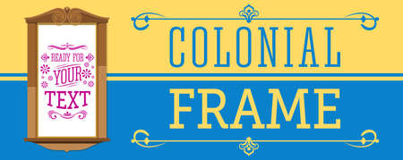 Colonial Frame vector illustration, ready to place your text or design. Stock Illustratie