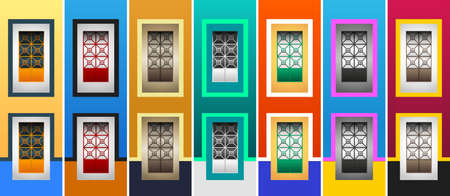 Rustic Colonial Windows Collection vector illustration.