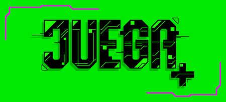 Juega, Play Spanish text, vector Gaming emblem design.