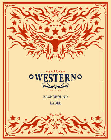 Western Style Label design, Rodeo post elements.