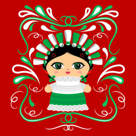 Mexican Doll with decorative ornaments vector illustration Ilustracja
