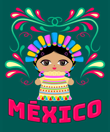 Mexican Doll with decorative ornaments and vector Mexico text. Ilustracja